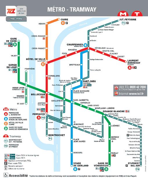 Plan de Metro de la Ville de Lyon