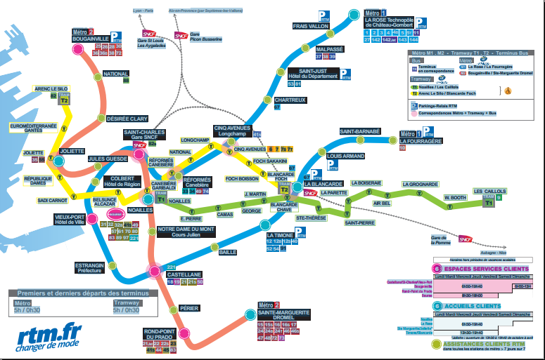 Plan de Metro de la Ville de Marseille