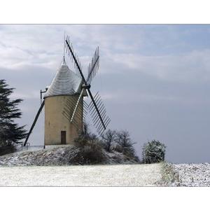 06.01.2009 Le moulin de Gibra a mis son manteau blanc.
