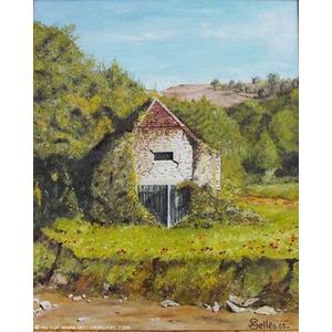 La grange abandonnée route de Sauvelade à Vieillesegur. Peinture au couteau de Jean-Claude SELLES BROTONS