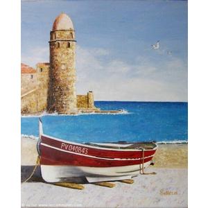 Barques catalanes et le phare de Collioure. Peinture de Jean-Claude SELLES BROTONS.